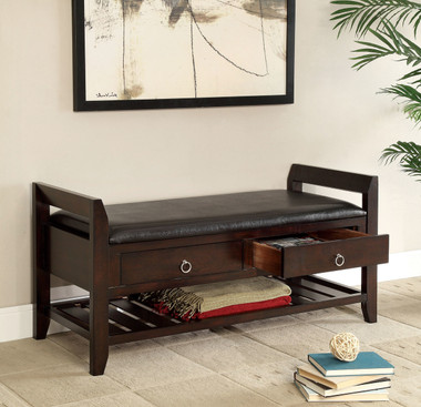Espresso Leatherette Storage Bench