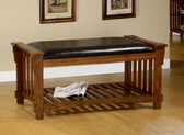 Antique Oak Mission Accent Bench