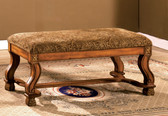 Antique Oak Paisley Accent Bench
