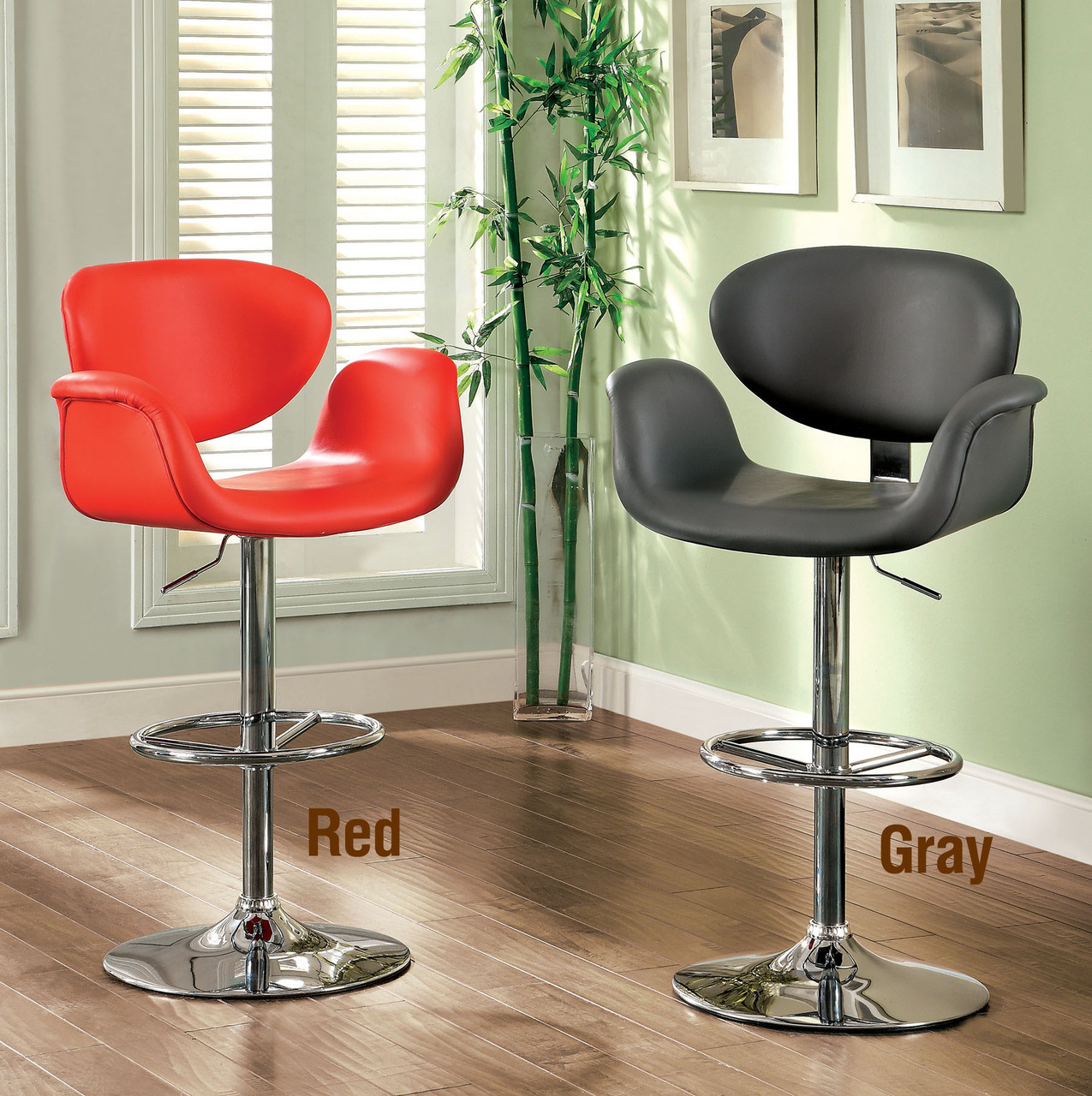 Olivier Chrome Swivel Leatherette Bar Stool White Black