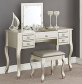 Sofia F4145 Vanity Table With Flip Top Mirror | Silver Finish