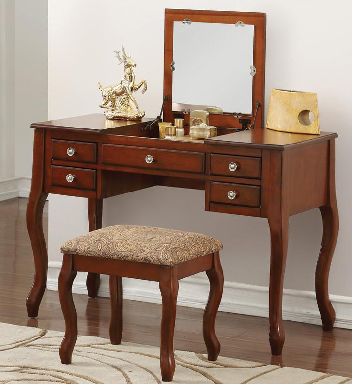 Sofia F4145 Vanity Table With Flip Top Mirror Orange County