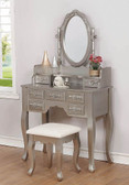 hloe Metallic Silver Vanity with Mirror and Bench