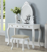 Tilly Dressing Table with Mirror & Bench in White Classic Vintage-Look