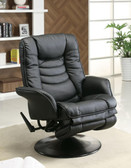 Black Leatherette Swivel Recliner