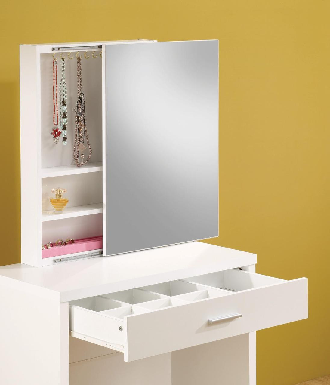 Taylor white makeup vanity table set white vanity hidden for Small makeup table