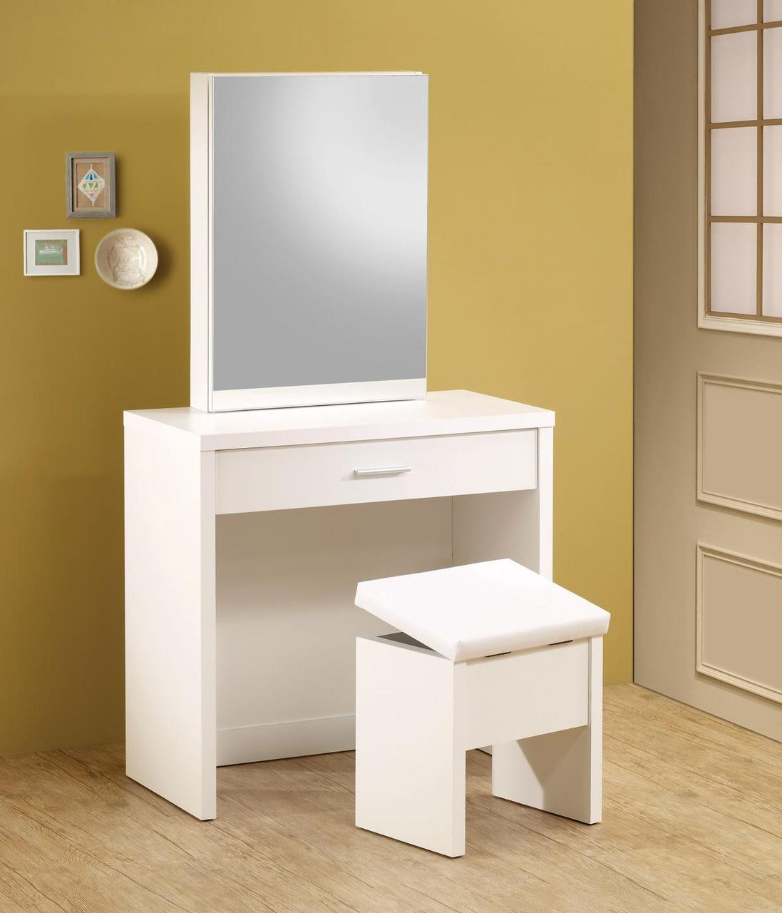 Taylor white makeup vanity table set white vanity hidden Makeup vanity table
