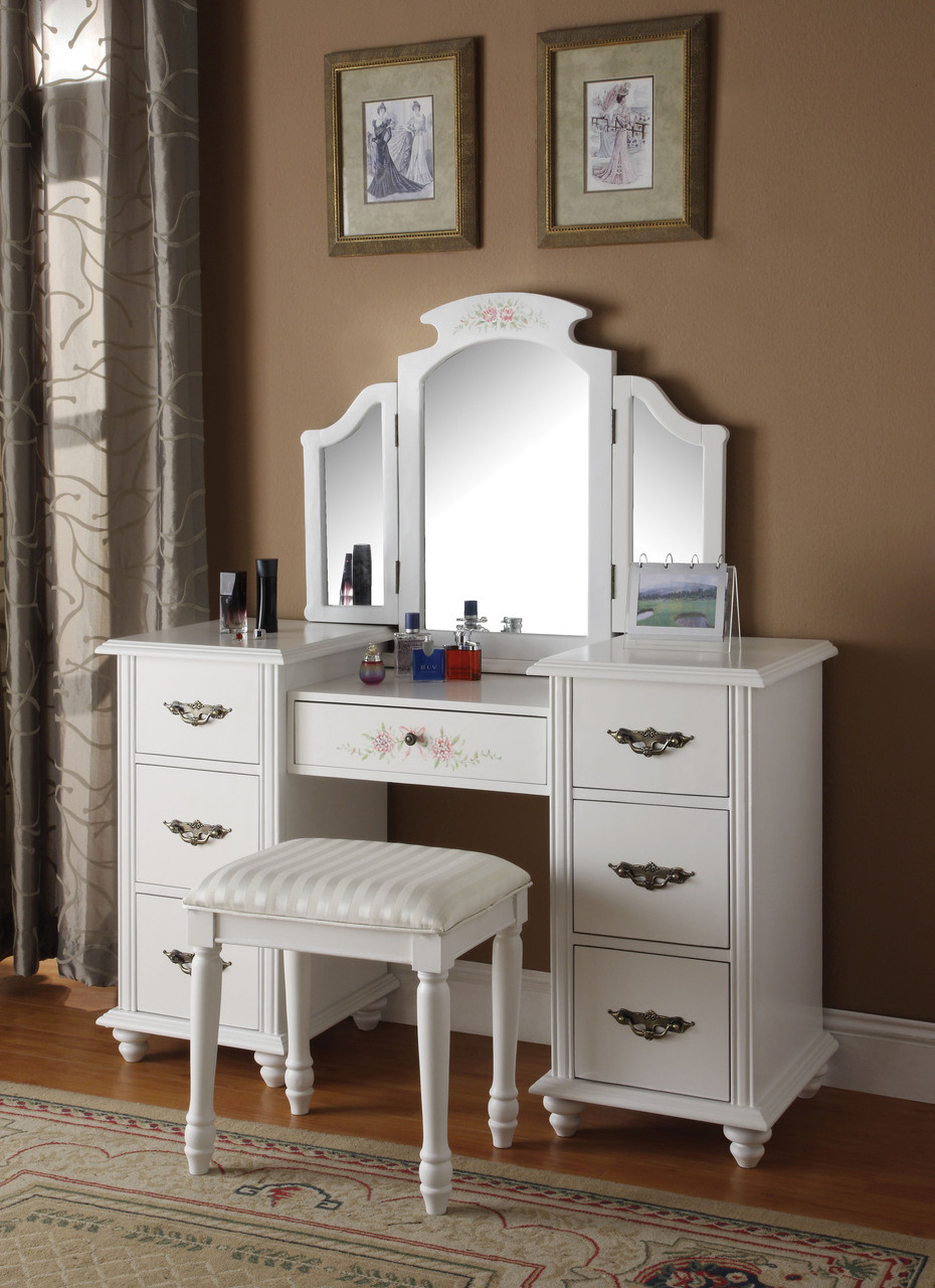 White Vanity Dressing Table Set & Tania White Vanity Dressing Table Set | Makeup Dressing Tables