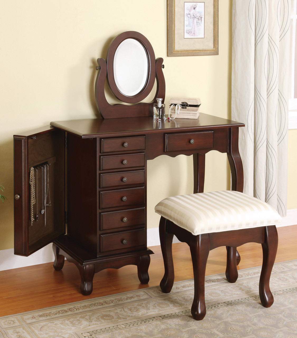Fayetteville rich brown vanity table cabinet drawers for Brown vanity table