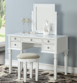 Kamori Vanity Table with 5-Drawers, Mirror and Bench in White