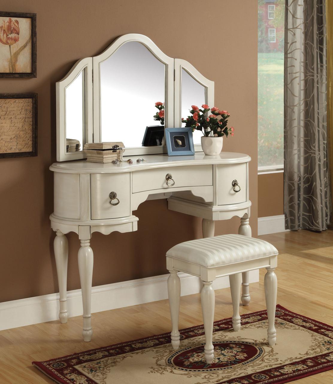 . Fontana Off White Vanity Dressing Table Set