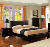 Espresso Leatherette Queen Bed