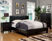 Espresso Leatherette Queen Platform Bed