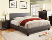 Gray Leatherette Queen Platform Bed