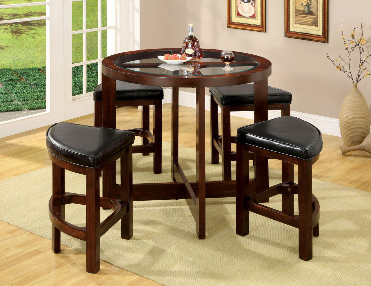 Waterbury Dark Walnut Round Glass Counter Height Set