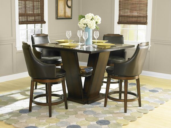 Finland Walnut Counter Height Dining Table Set 48 Counter Table