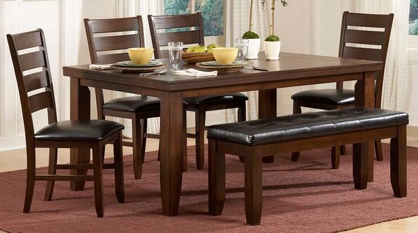 Dark Oak Transitional Dining Table Set