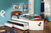 White Oak Boat Twin Bed with Storage