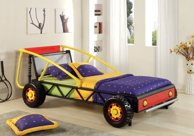 Red Yellow Race Car Bed