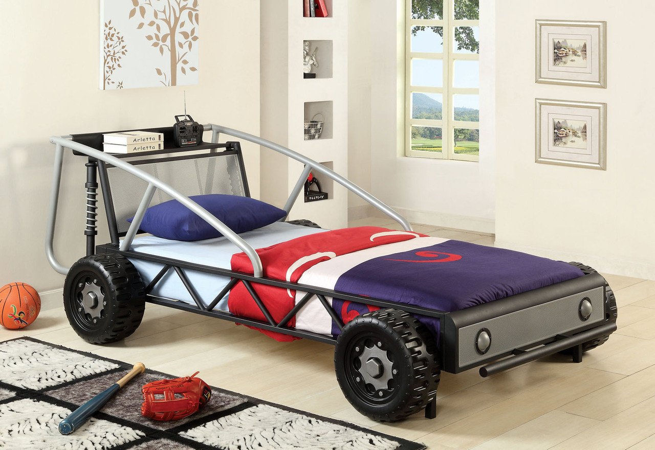 red yellow twin race car bed