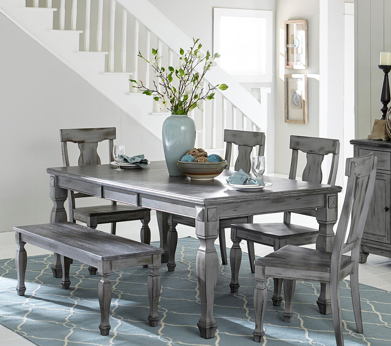 Outstanding Fulbright Weathered Gray 6Pc Table Set Customarchery Wood Chair Design Ideas Customarcherynet