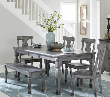 Weathered Gray / Coffee Finish table with 4 chairs and bench