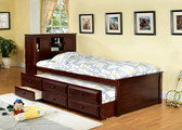 Cherry Captain Twin Platform bed with Trundle