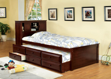 Cherry Captain Twin Platform Frame with Trundle
