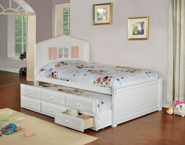White Twin Platform bed with Trundle