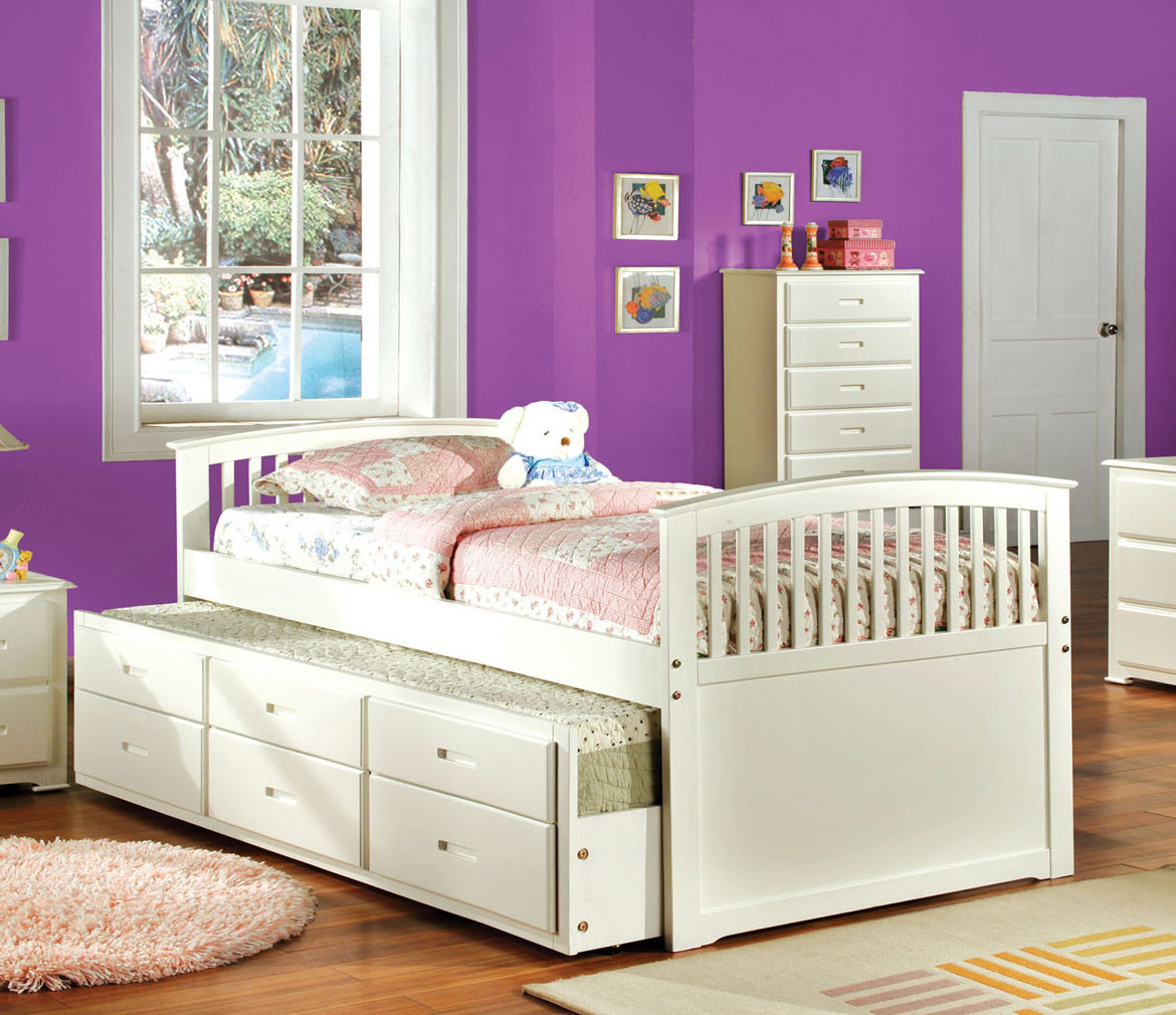 Maria White Mission Full Size Platform Bed With Trundle Bed For Kids