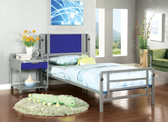 Amarillo Silver and Dark Blue Metal Bed