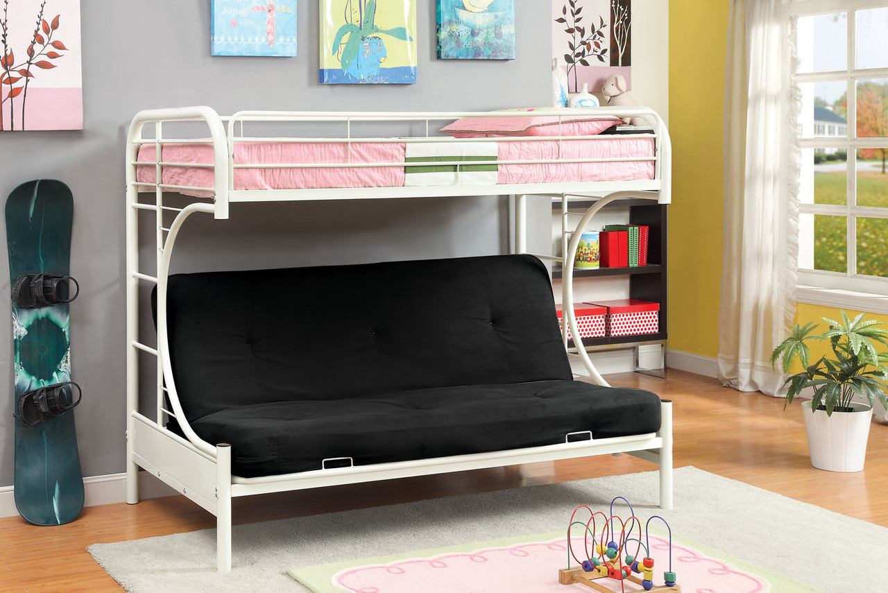 Westminster Silver Metal Twin Futon Bunk Bed Red Black