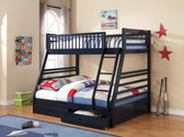Navy Blue Wood Twin Full Bunk Bed with Drawers