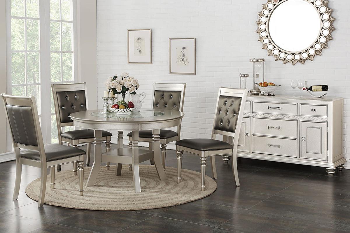 Poundex F2428 Silver Round Table Set