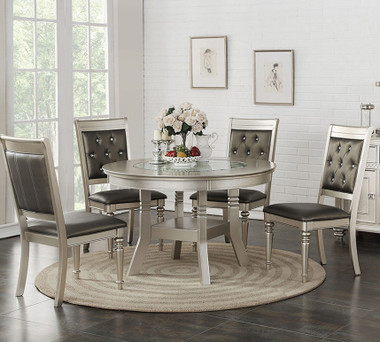 Poundex F2428 Silver Round Table with 4 Side Chairs
