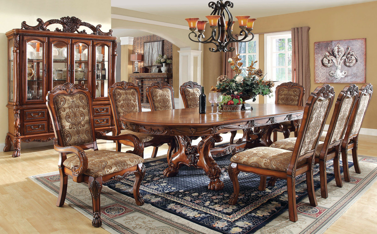 Baynor Antique Oak Formal Dining Table Set