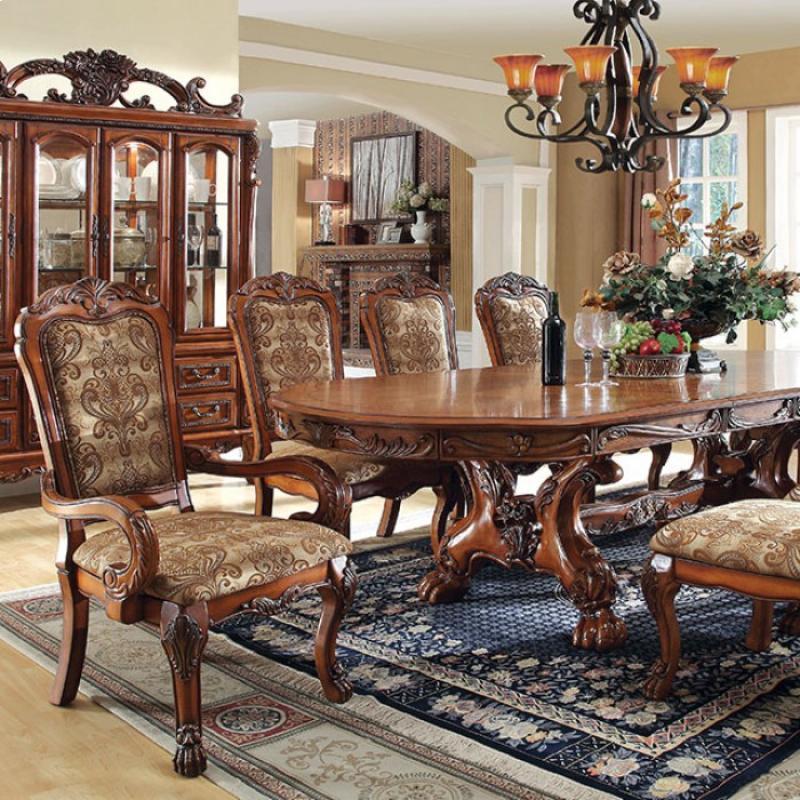 Antique Oak Formal Dining Table Set | Furniture of America 3557T ... & Baynor Antique Oak Formal Dining Table Set | 108