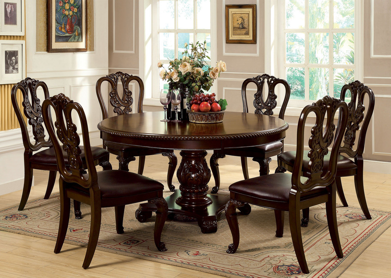 "60"" Billagio Round Dining Table Set by Furniture of America"