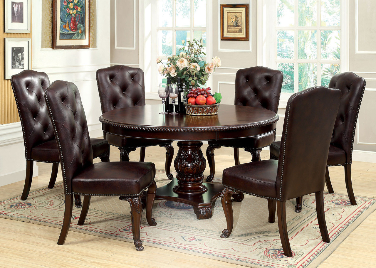 60 Billagio Round Dining Table Set By Furniture Of America
