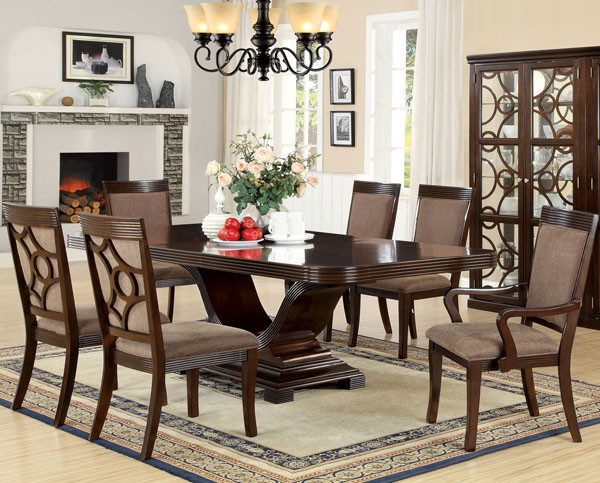 Dunlin Walnut Contemporary Dining Table Set