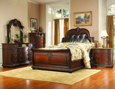 Queen Rich Brown Traditional Bed