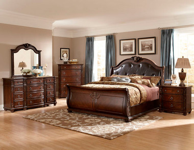 Queen Rich Cherry Traditional Bed