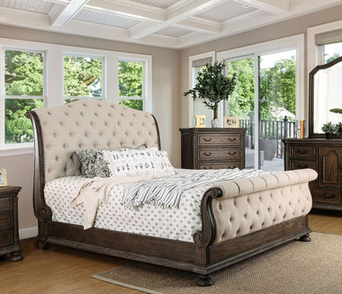 Lysandra CM7663 Sleigh Tufted Bed