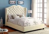 7016 IV Ivory Leatherette Platform Bed
