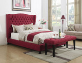 Wing-back Button Tufted Upholstered Platform Bed in Red