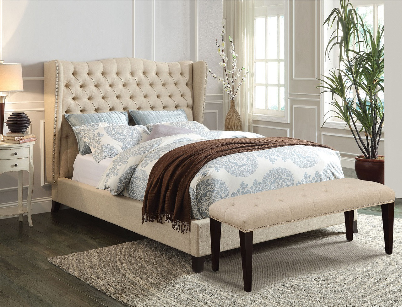 Wing Back Button Tufted Upholstered Platform Bed In Red · Beige Bed ...