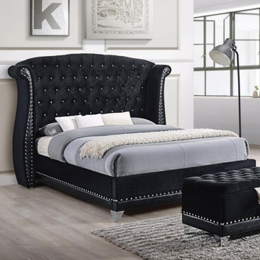 Barzini Black Velvet Upholstered Winged Bed in Queen and King