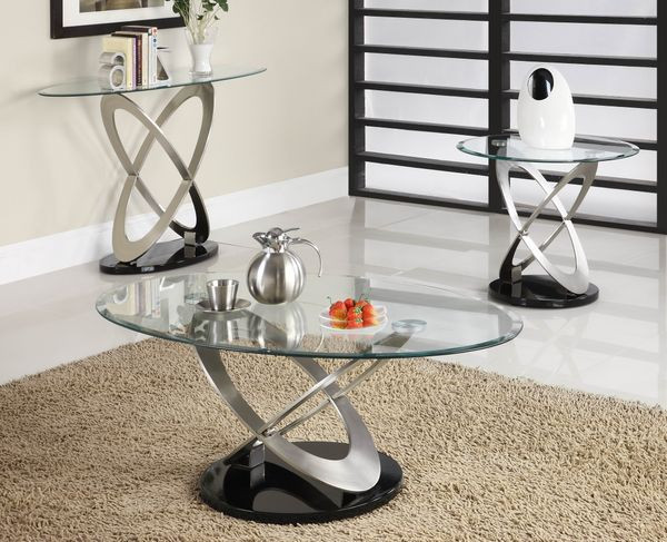 Merveilleux Oval Glass Chrome Occasional Table Set