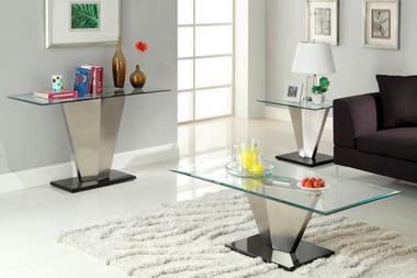 Rectangular Glass Chrome Cocktail Table