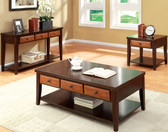 Dark Oak Dark Cherry Coffee Table w/ Drawers